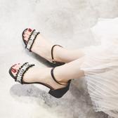粗跟時裝仙女風涼鞋女