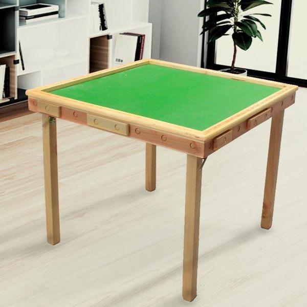 實木麻將桌餐桌兩用手動折疊棋牌桌簡易打牌桌家用手搓4人麻將台igo  良品鋪子