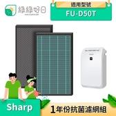 【南紡購物中心】綠綠好日 抗菌 濾芯 濾網 蜂巢顆粒 適 夏普 SHARP FU-D50T FU-D50T-W FU-D50T-R