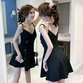 洋裝吊帶裙女夏高腰顯瘦a字短洋裝名媛氣質性感V領露背連身裙 新年免運特惠