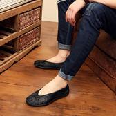中國風老北京布鞋 暗花刺繡套腳鞋舒適透氣一腳蹬男單鞋休閒潮流鞋