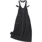 短袖套裝(兩件套)-圓領T恤雪紡背帶裙女裙子73yd11【時尚巴黎】