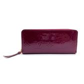 【台中米蘭站】全新品 Louis Vuitton 新版漆皮窄版拉鍊長夾 (M90972-紫)