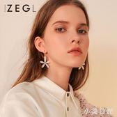 白色花朵耳環 花瓣耳釘女氣質韓版個性2019新款小眾耳飾品 mj13712『小美日記』