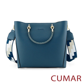 CUMAR  嬉皮幾何圖樣寬背帶小方包-藍色