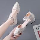 高跟鞋 高跟鞋女2021年新款春季仙女風中跟粗跟學生百搭一字帶包頭涼鞋 歐歐