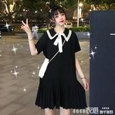 短袖洋裝夏季新款寬鬆法式蝴蝶結娃娃領雪紡短袖連身裙女氣質顯瘦裙子春季特賣