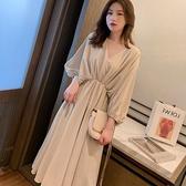 七分袖洋裝 夏季女裝正韓學生寬鬆顯瘦中長款七分袖V領收腰連身裙潮 Ballet朵朵