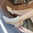 馬丁靴春秋尖頭鞋子女單靴2020新款網紅靴子冬鑚百搭高跟細跟短靴 小艾新品