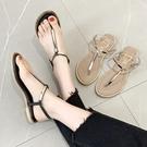夾腳鞋.MIT甜美質感T字金屬拼接平底涼鞋.白鳥麗子