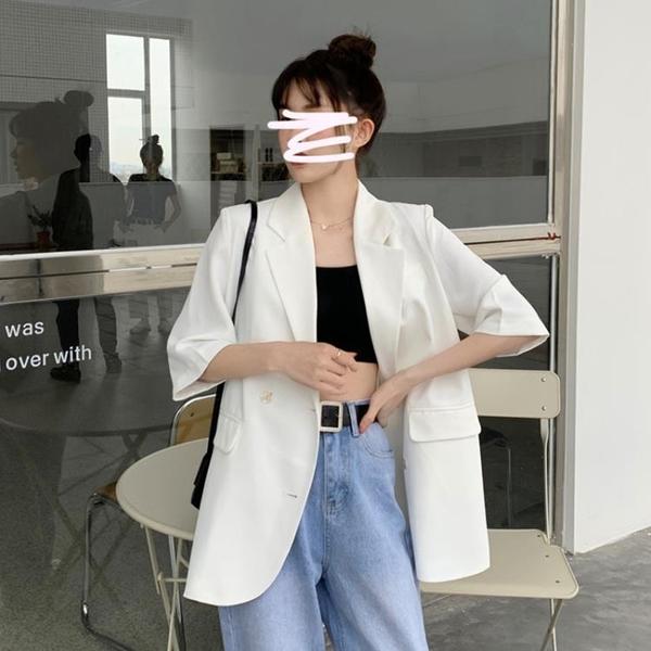 2021新款網紅小個子休閑白色西裝外套女夏季薄款炸街小西服上衣服