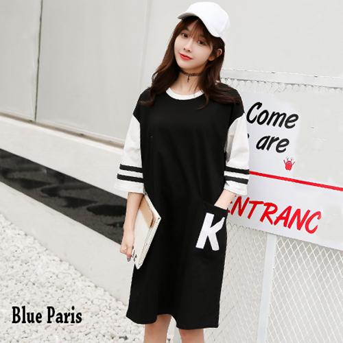 【藍色巴黎】韓版運動風K字母口袋五分袖長版上衣 洋裝《2色》【28125】