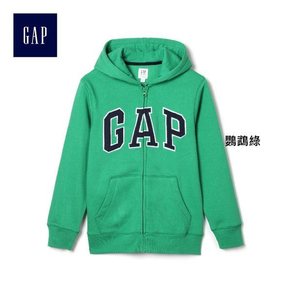 Gap男童 LOGO系列舒適刷毛圖案拉鏈連帽長袖休閒外套 260311-鸚鵡綠