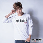 BIG TRAIN 海浪文字LOGO長袖T-男-白色
