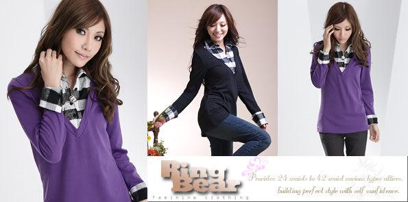 假兩件 Ringbear眼圈熊-經典流行.毛料格紋深V領假兩件上衣H24(黑、紫M-2L)