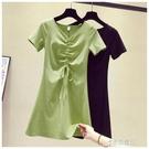 短裙洋裝 牛油果綠色抽繩V領短袖t恤女夏中長款洋裝新款甜美純色小眾裙子 16原本