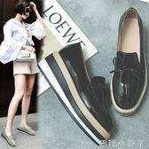 牛津鞋網紅鬆糕鞋女厚底新款淺口單鞋黑色小皮鞋蝴蝶結一腳蹬學院風 蘿莉小腳ㄚ