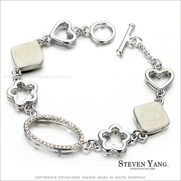 手鍊 正白K飾「花間精靈」T字扣 白色款 甜美小資女
