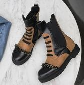 大尺碼女鞋 2019新款歐美時尚圓頭龐克風中跟短靴~2色