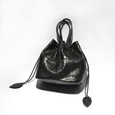 真皮側背包-黑色羊皮多用途水桶包女手提包73vd35【巴黎精品】
