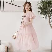 初心 粉色夢幻 洋裝 【D2618】韓系 雪紡 V領 高腰 低胸 質感 洋裝 長裙