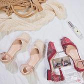 優惠持續兩天-方頭平底女涼鞋粗跟低跟淺口包頭仙女流蘇皮帶扣包跟涼鞋女夏學生
