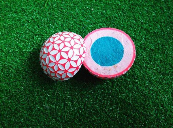 高爾夫球 日本KAEDE比賽球阻力低 三層球 櫻花球熒光色高爾夫球3個裝  潮先生