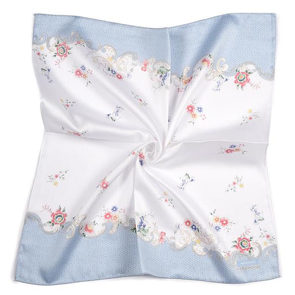 WEDGWOOD典雅花卉印花純綿帕領巾(粉藍色)989219-71