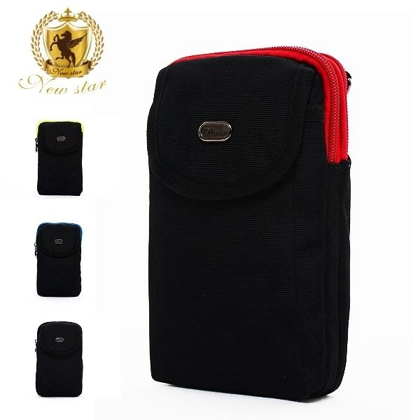 腰包 輕便尼龍撞色雙層掛包包 側背包 手機袋 男 女 男包 現貨 NEW STAR BW32