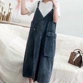 漂亮小媽咪 韓國洋裝 【D8813】 中大尺碼 牛仔 吊帶裙 牛仔裙 背心裙洋裝 孕婦裝 V領