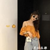 2020夏季新款韓版寬鬆顯瘦仙女范娃娃衫洋氣超仙吊帶露肩短款上衣 夢幻衣都