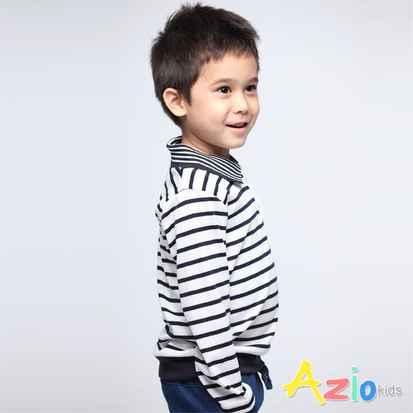 Azio Kids男童 上衣 船錨刺繡條紋POLO衫(白) Azio Kids 美國派 童裝