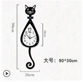 貓咪掛鐘創意客廳現代簡約鐘表時尚卡通掛表臥室靜音