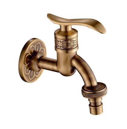 全銅仿古洗衣機水龍頭復古典花紋萬能接口6分4分