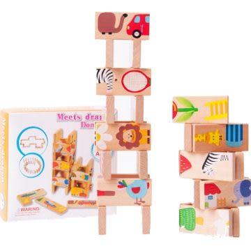 UNICO-LIFE╭✪可愛動物多米諾益智骨牌木製積木/兒童益智玩具/接龍/認知玩具