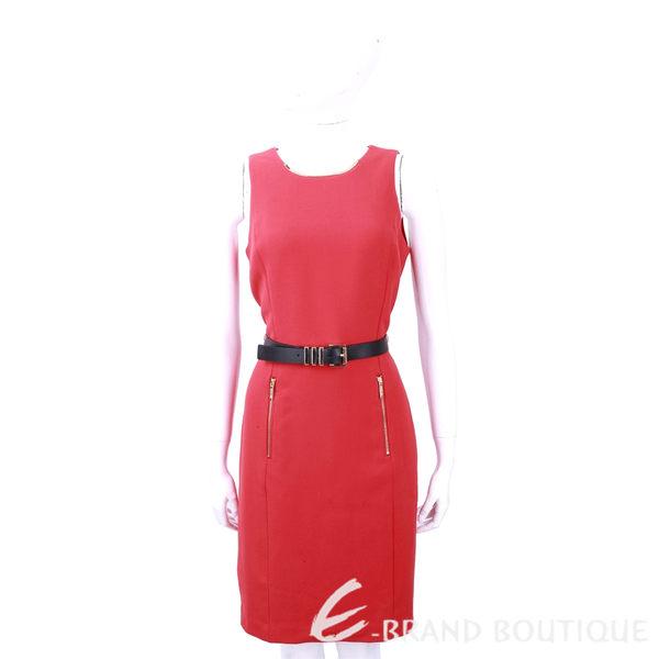 Michael Kors 紅色金屬項圈飾無袖洋裝(附腰帶) 1240652-54