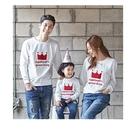 韓版紅白皇冠長袖上衣親子裝情侶裝(男大人)紅/白二色可選