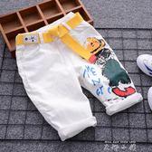 男童休閒七分褲2018新款夏季兒童白色涂鴉中褲薄款中大童寬鬆短褲   米娜小鋪