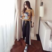 涼感夏季兩件套女新款韓版休閒學生時尚短袖T恤 闊腿褲運動套裝潮短袖套裝【非凡】
