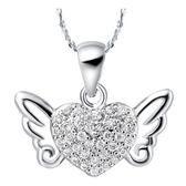 項鍊 純銀鍍白金鑲鑽吊墜-天使之翼生日情人節禮物女飾品73cy11[時尚巴黎]