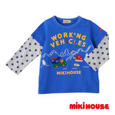 MIKI HOUSE 普奇熊假二件長袖T恤(天空藍)