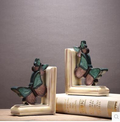美式鄉村風格法式創意樹脂蝴蝶書靠歐式仿古裝飾品書檔書立擺件