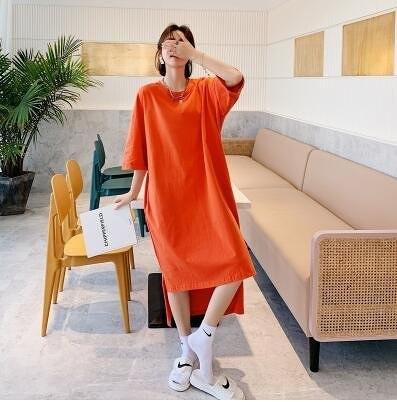 時尚洋裝百搭L-2XL韓版寬鬆大碼前短後長純色過膝連衣裙NC417-905皇潮天下