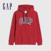 Gap男裝 Logo基本款休閒連帽外套 618866-紅色