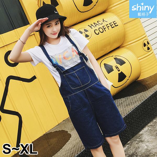 【V2904】shiny藍格子-秋憶蔓延.大口袋寬鬆顯瘦闊腿吊帶褲