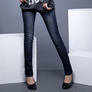 窄管褲--完美修長細直比例刷白鬼爪痕深藍...