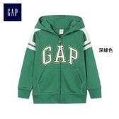 Gap男嬰幼童 Logo印花連帽長袖休閒上衣 375563-深綠色