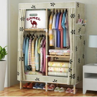 衣櫃 簡易衣櫃子實木質木架布衣櫃加厚帆布組裝大號牛津布衣櫥布藝【店慶八折特惠一天】