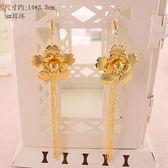 中式古裝結婚流蘇耳環耳墜夾式復古新娘秀禾服頭飾配飾耳飾品【萬聖節推薦】