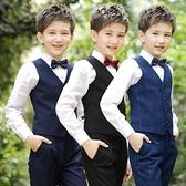 兒童禮服 男童禮服馬甲套裝小花童男孩主持人兒童西裝鋼琴表演演出西服【快速出貨八折搶購】
